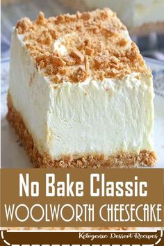 No Bake Classic Woolworth Cheesecake - Food - Dessert Recipes Loves No Bake Desserts, Easy Desserts, Delicious Desserts, Yummy Food, Cheesecake Desserts, Woolworth Cheesecake Recipe, Cheesecake Recipe With Lemon Jello, Cold Summer Desserts, No Bake Cheesecake Filling