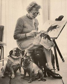 Pugs and Sylvia Sidney. Love the illustration.