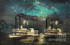 Steamboat Racing on the Mississippi  by Lianne Schneider - a digital painting recreating an 1890 Currier & Ives print
