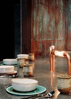 Burnt and smoked materials feature in Joyce Wang's interior for Rhoda restaurant