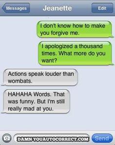 Actions speak louder than wombats