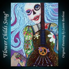 Flower Child's Song - Hippie Art by Laura Barbosa