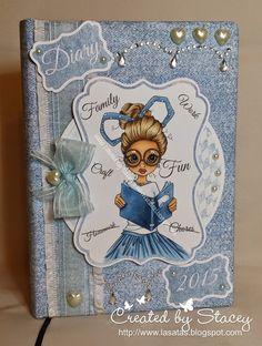 Lasata's Crafty Hideout ~ Copics:  SKIN E33, E11, E21, E00 HAIR E50, E53, E43, E57, E49 SKIRT B97, B95, B93 BOOK B99, B97, B95 Added sparkle with Copic Spica Baby Blue glitter pen.