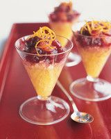 Cranberry-Vanilla Compote with Orange Ice | Martha Stewart Living - Freshly squeezed orange and lemon juices are mixed with orange liqueur to make a refreshing citrusy slush.