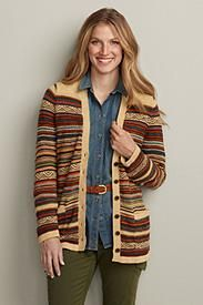 Multi-Jacquard Stripe Cardigan - this could work with a lot of shirts. Folk Fashion, Young Fashion, Comfy Casual, Striped Cardigan, Cozy Sweaters, Autumn Winter Fashion, Winter Style, Eddie Bauer, Boyfriend Jeans