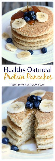 Heathy Oatmeal Protein Pancakes are good for you AND taste AMAZING! Same pancake taste and texture with out the added carbs, sugar and fat.