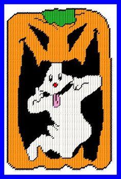 GHOST IN A JACK-O'-LANTERN by JODY -- WALL HANGING 1/2