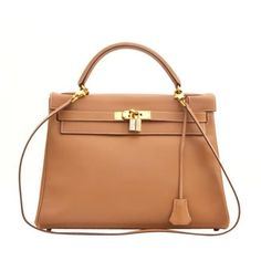 Hermes - HERMES Natural Barenia Leather Gold 32cm GHW Kelly Bag found on Polyvore