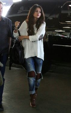 Selena Gomez wearing Frye Jenny Backpack Angl Long Sleeve Sweater with Sequin Elbow
