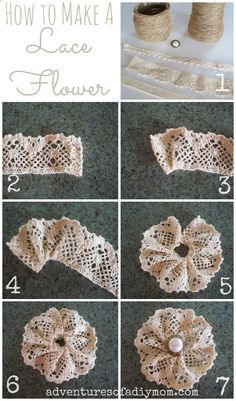 How to Make a Lace Flower Adventures of a DIY Mom How to Make a Lace Flower The post How to Make a Lace Flower appeared first on Basteln ideen. blumen How to Make a Lace Flower - Basteln ideen Burlap Crafts, Ribbon Crafts, Flower Crafts, Fabric Crafts, Sewing Crafts, Sewing Projects, Craft Projects, Diy Crafts, Decor Crafts
