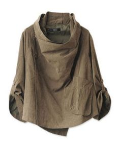 Military Green Stacked Collar Cape with Off-center Button Closure