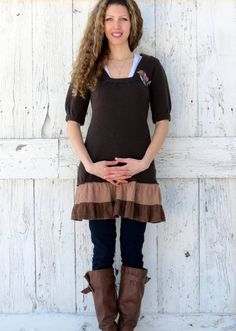 Upcycled Sweater Dress Bohemian brown dress Indie by wearlovenow, $48.00 #boho sweater dress, #indie fashion, #upcycled clothes