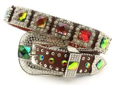 Western Cowgirl Rhinestone Concho Bridal Multi Color Crystal Stone Belt For Wedding Dress Crystal Wedding Dresses, Bling Belts, Leather Factory, Crystal Belt, Cowgirl Bling, Leather Belts, Stones And Crystals, Belt Buckles, Volcano