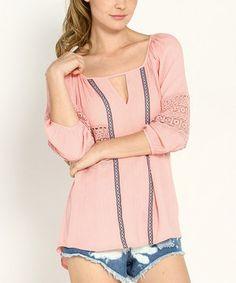 This Marineblu Peach Crocheted Hi-Low Top by Marineblu is perfect! #zulilyfinds