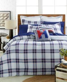 Tommy Hilfiger Surf Plaid Twin/Twin Xl Comforter Set - Blue/White