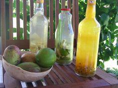 rhum arrangés aux mangues, ananas, vanille, citron gingembre et citronelle