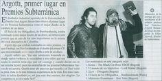 Artículo sobre premio entregado a Jose Argotty por diseñar las estatuillas de Subterránica.