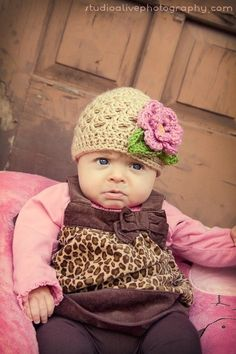 Baby Girl Beanie Hat with Flower and Leaves-Great Photo Prop-MADE TO ORDER