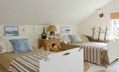 Coastal twin guest bedroom, w a Nautical touch