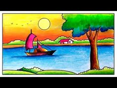 Hello Friends Welcome to Our Channel Friends Our Channel makes videos on different type of Art Media In this Video we show you Oil Pastel Color Media to make. Drawing Pictures For Kids, Scenery Drawing For Kids, Easy Drawings For Kids, Painting For Kids, Pencil Colour Painting, Poster Color Painting, Drawing Sunset, Nature Drawing, Oil Pastel Drawings