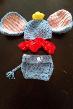 crochet, dumbo, elephant, newborn, outfit, cute outfit, baby outfit, baby elephant, baby dumbo, diaper cover, hat, baby shower gift by stitchinloops on Etsy https://www.etsy.com/listing/235657962/crochet-dumbo-elephant-newborn-outfit