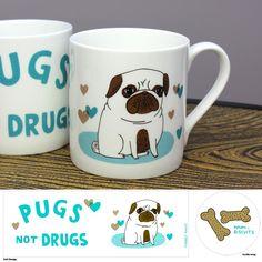 Christmas List: Pugs Not Drugs mug - Beast In Show.com