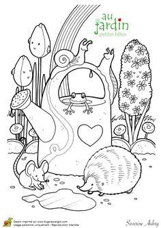 Coloriages jardinage petites betes