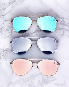 Flat lens mirrored aviators! Shop the Bermuda shades now