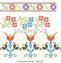 stock-vector-embroidered-good-like-handmade-cross-stitch-folks-romanian-pattern-86745757.jpg (450×460)