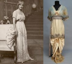 On the right:  Beaded and appliqued silk gown, c1914, owned and presumably worn by Lucile, Lady Duff-Gordon.  On the left:  unknown.  pity.