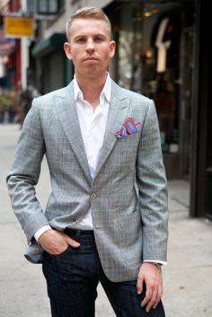 DKNY Jacket Grey Plaid Seersucker Slim Fit Blazer - Mens Blazers
