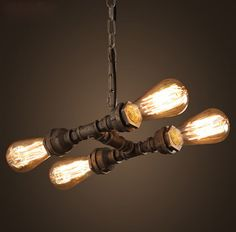 4 Lamp Pipe Style Pendant Lights Art Pendant Light Edison Bar Vintage Pendant Light Contains Edison Bulb Free Shipping #Affiliate