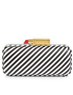 Black & White Stripe Carrie Clutch