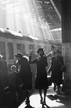 People bid farewell to their loved ones at Paddington station in London during the second world war, 23 May 1942.  Bert Hardy