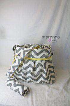 Stella Chevron Diaper Bag Large Changing Pad Set - Gray Chevron with Yellow - Elastic Pockets