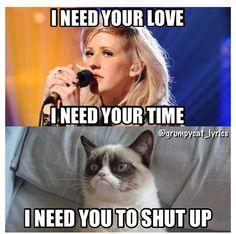 Grumpy Cat sings Need Your Love by Calvin Harris ft Ellie Goulding #GrumpyCat #Meme