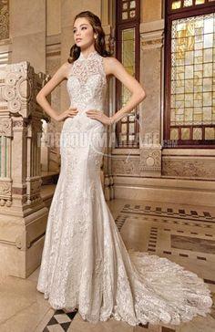 Magnifique robe de mariée 2015 sirène col haut dentelle [#ROBE209821] - robedumariage.com