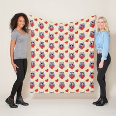 Shop An Owly Love Pattern Fleece Blanket created by BirdAtWork.