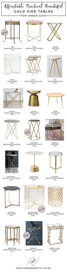 Luxury Kitchens Affordable Brass and Gold Side Tables under - Looking for a gold side table? Here's a round up of all my favourites, starting as low as Check them all out here for the best bargains. Interior Design Kitchen, Modern Interior, Modern Luxury, Gold Interior, Kitchen Designs, Interior Ideas, Living Room Furniture, Living Room Decor, Living Rooms