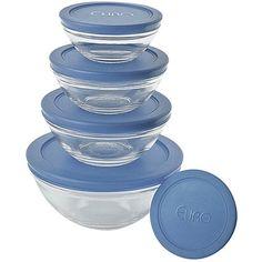 Conjunto de Potes Vidro 5  Peças com Tampa Azul - Euro Home