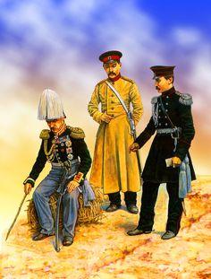 Russian generals Weimarn with Soimonov and Baron Osten-Saken, Crimean War