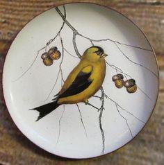 Vintage Serge Nekrassoff Enamel Over Copper Goldfinch On Branch w/ Acorns