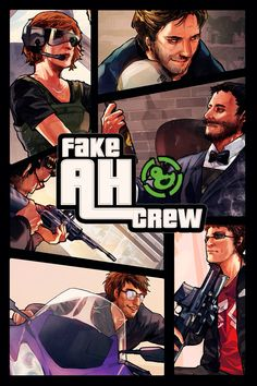 GTA V style semi-realistic illustration game cover art for Achievement Hunters.  Credit: mallius.tumblr.com
