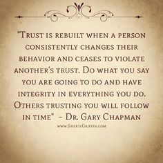 Rebuilding trust and reconciliation are possibly but there is a key....