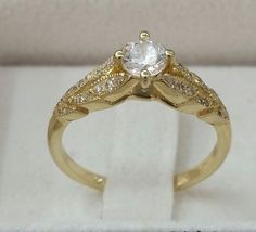 leaf Engagement Ring 14k Yellow Gold Ring by CMichaelJewelry