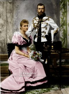 Tsar Nicholas, in hussar uniform, and Princess Alix of Hesse (later Alexandra Feodorovna) in their official engagement portrait. Photograph by Sergei Lvovich Levitsky. Alexandra Feodorovna, Anastasia, Princesa Alice, Thurn Und Taxis, Hesse, House Of Romanov, Tsar Nicholas, Imperial Russia, Kaiser