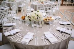 Austin Wedding by Caroline + Ben Photography, lilac gray table cloth, white accents, Sherwin Williams Queen Anne Lilac