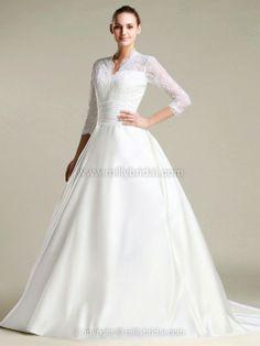 Princess V-neck Satin Lace Court Train Buttons Wedding Dresses