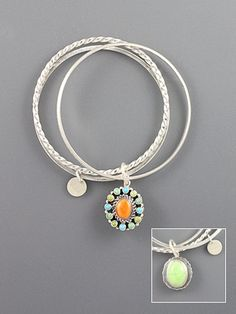 Sterling silver bangles attached together with double sided charm. Orange spiney oyster center with turquoise, varasite and gaspeite cabochons on one side and a gaspeite cabochon on the other side. Shell Jewelry, Turquoise Jewelry, Sterling Silver Jewelry, Silver Bangles, Southwestern Jewelry, Bangle Bracelets With Charms, Jewelery, Give It To Me, Western Style