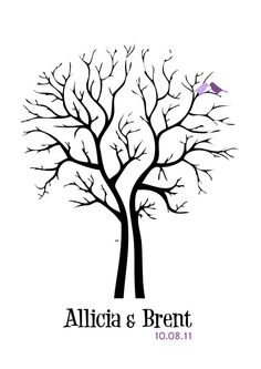 Wedding Tree Guest Book Print Thumbprint modern (design)(any size) guestbook. $12.99, via Etsy.